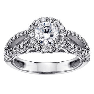 White Gold or Platinum 1 3/5ct TDW Brilliant-cut Diamond Halo Engagement Ring (F-G, SI1-SI2)