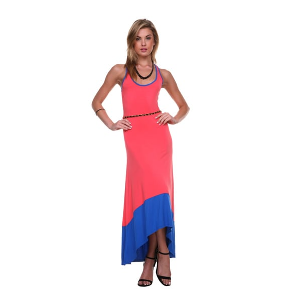 Stanzino Women's Colorblocked Asymmetrical Hem Maxi Dress