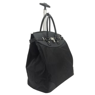 Classic Black Microfiber Foldable Rolling 14-inch Laptop/ Tablet Tote Bag