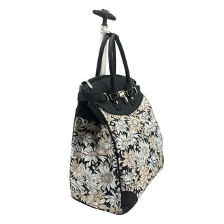 Sunflower Floral Foldable Rolling Carry-on Tote Bag