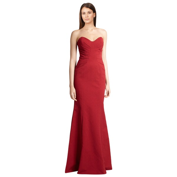 David Meister Red Strapless Pleated Inset Sweetheart Fitted Evening Dress