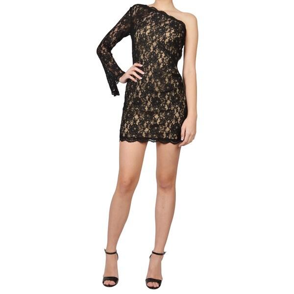 Nha Khanh Black Scalloped Lace One Shoulder Sleeved Evening Dress