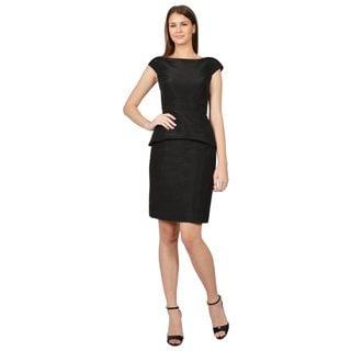 Oscar De La Renta Black Cap Sleeve Peplum Scoop Back Evening Dress