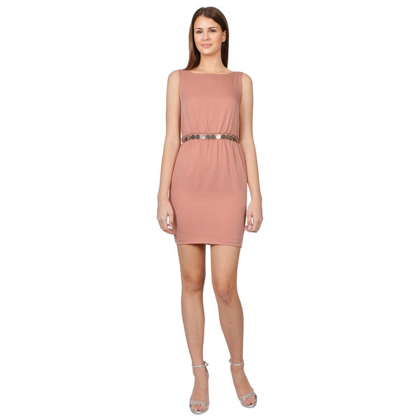 Moschino Pink Boatneck V-back Belted Sleeveless Evening Dress