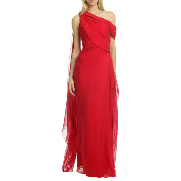 Pamella Roland Red One Shoulder Draped Asymmetric Evening Dress
