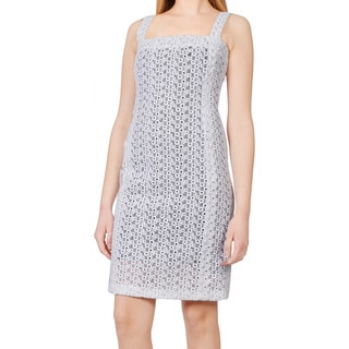 Celine Paris White Embroidered Eyelet Overlay Contrast Cocktail Dress