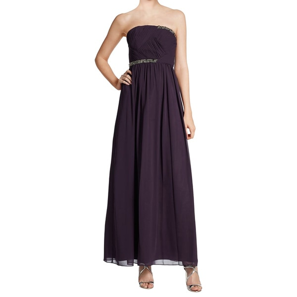 Ivanka Trump Purple Chiffon Strapless Embellished Evening Dress