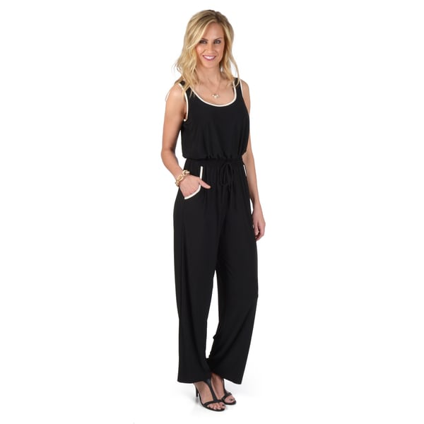 Emma & Michele Women's Sleeveless Cinched Waist Jumpsuit