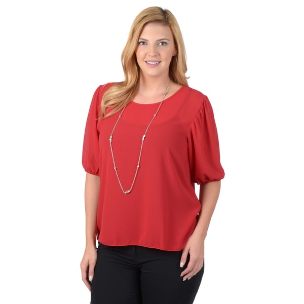 Timeless Comfort by Journee Plus Size Scoop Neck Chiffon Blouse