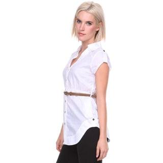 Stanzino Women's White Belted Button-down Shirt