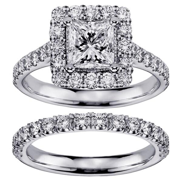 White Gold or Platinum 2 4/5ct TDW Princess-cut Diamond Square Halo Bridal Ring Set (F-G, SI1-SI2)