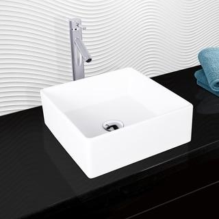 VIGO Bavaro Composite Vessel Sink and Dior Bathroom Vessel Faucet in Chrome