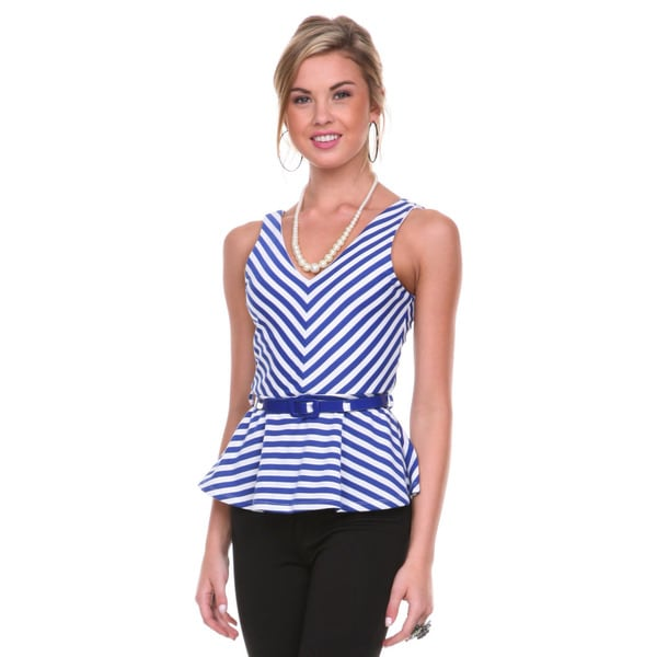 Stanzino Women's Striped Belted Peplum Top
