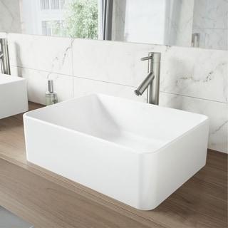 VIGO Caladesi Composite Vessel Sink and Dior Bathroom Vessel Faucet in Brushed Nickel