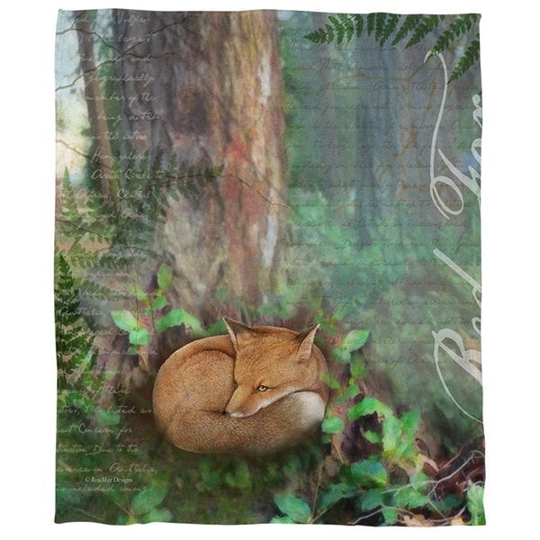 Thumbprintz Conifer Lodge Moose Coral Fleece Throw