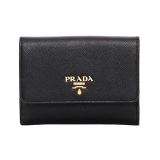 Prada Black/ Peony Saffiano Wallet
