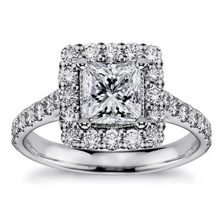 White Gold or Platinum 1 7/8ct TDW Princess-cut Square Halo Diamond Engagement Ring (F-G, SI1-SI2)