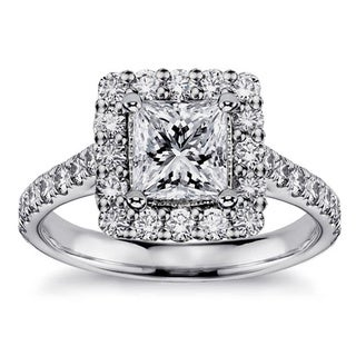 White Gold 2.11ct Square Halo Princess-cut Diamond Engagement Ring (G-H, SI1-SI2)