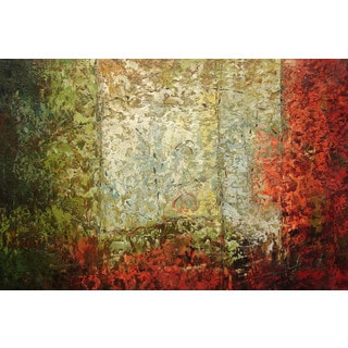 'Red & Green' Abstract Original Oil Painting