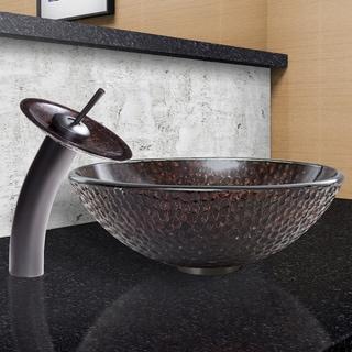 VIGO Copper Shield Glass Vessel Sink and Waterfall Faucet Set in Matte Black Finish