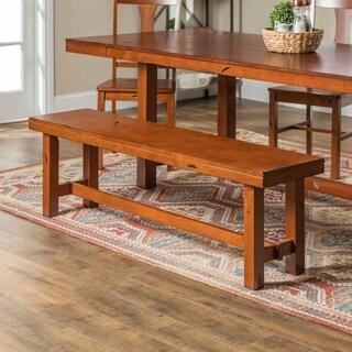 60-inch Distressed Rustic Dark Oak Trestle Base Dining Bench
