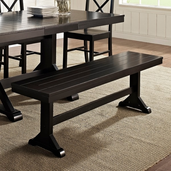 Countryside Chic Antique Black Wood Dining Bench 17233867 S