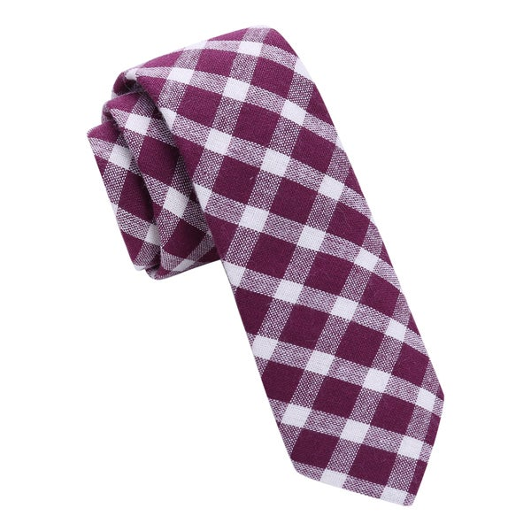 Skinny Tie Madness Purple Gingham Plaid Tie