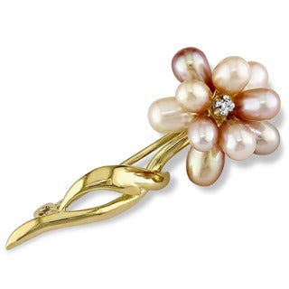Miadora 14k Yellow Gold Cultured Freshwater Pink Pearl and Diamond Accent Flower Pin Brooch (3-4 mm)