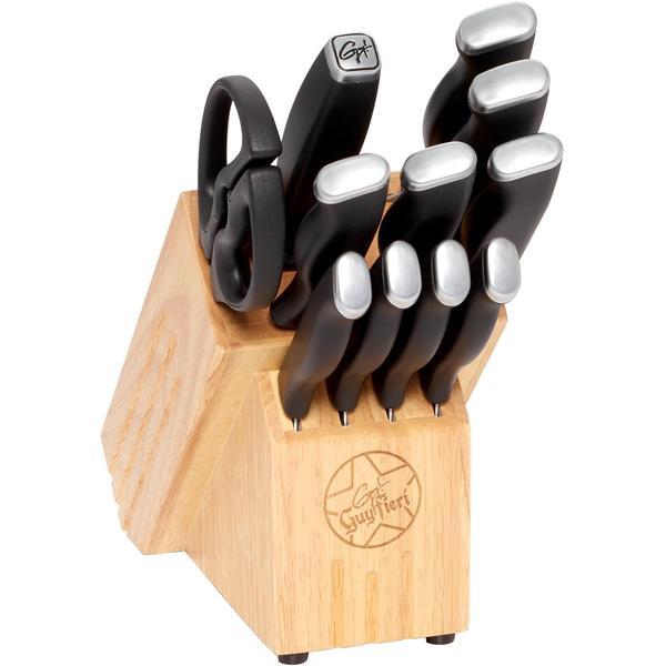 Guy Fieri 12-Piece Inlay Logo Cutlery Set, (Silver/Black)