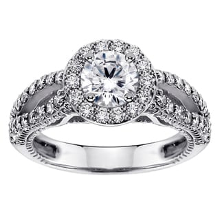 White Gold or Platinum 1 7/8ct TDW Brilliant-cut Diamond Halo Engagement Ring (F-G, SI1-SI2)