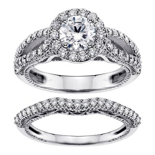 2 3/8ct Halo Brilliant Cut Diamond Engagement Bridal Set in White Gold or Platinum