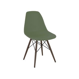 Mid Century Mountain Forest Side Chair with Walnut Wood Base (Set of 5)