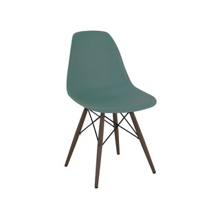 Mid Century Navy Green Side Chair with Walnut Wood Base (Set of 5)