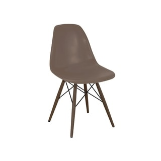 Mid Century Black Side Chair with Walnut Wood Base (Set of 5)