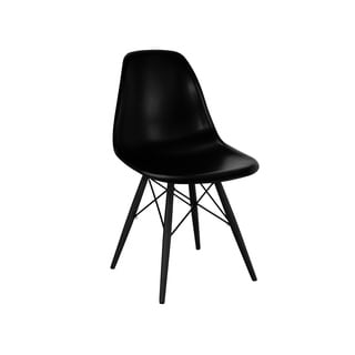 Mid Century Black Side Chair with Black Wood Base (Set of 5)
