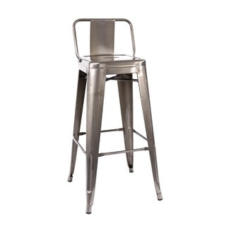Dreux Clear Gunmetal Steel Low Back 30-inch Barstool (Set of 4)