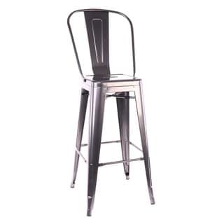 Dreux Dark Gunmetal Steel High Back 30-inch Barstool (Set of 4)