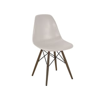 Mid Century Beige Side Chair with Walnut Wood Base (Set of 5)