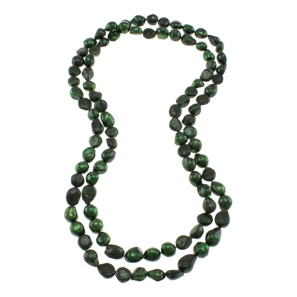 Dark Green Freshwater Pearl Knotted Endless Necklace (10-11 mm)