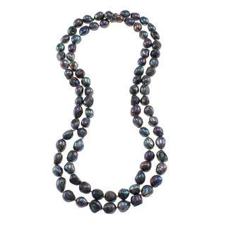 Grey Freshwater Pearl Knotted Endless Necklace (10-11 mm)