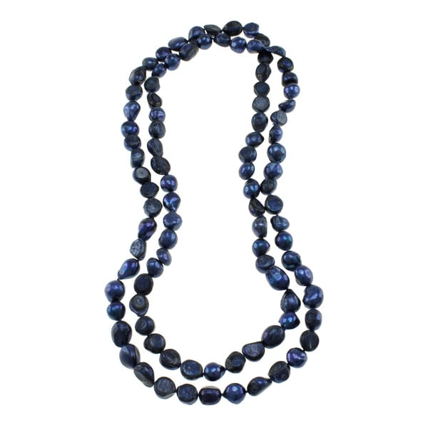 Dark Blue Freshwater Pearl Knotted Endless Necklace (10-11 mm)
