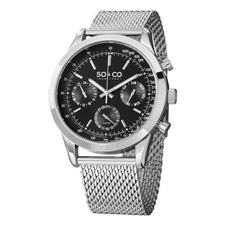 SO&CO New York Men's Monticello Stainless Steel Tachymeter Watch with Mesh Band