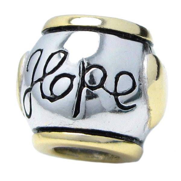 Queenberry Sterling Silver Hope Heart European Bead Charm