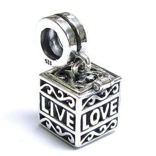 Queenberry Sterling Silver Filigree Love Laugh Live Cube Dangle European Bead Charm