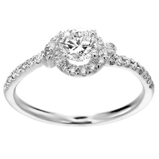 14k White Gold 3/4ct TDW Round Diamond Halo Ring (H-I, SI1-SI2)