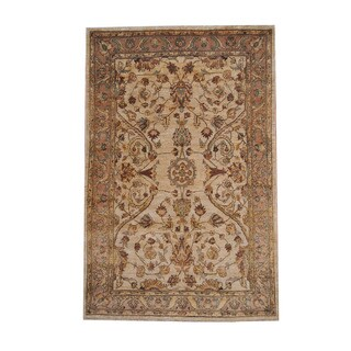 Herat Oriental Afghan Hand-knotted Oushak Ivory/ Brwon Wool Rug (5'3 x 8')