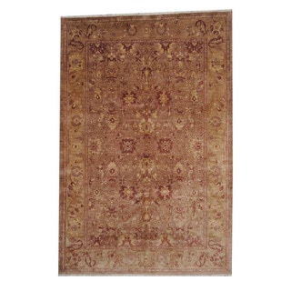Herat Oriental Afghan Hand-knotted Oushak Light Brown/ Rust Wool Rug (6' x 9')