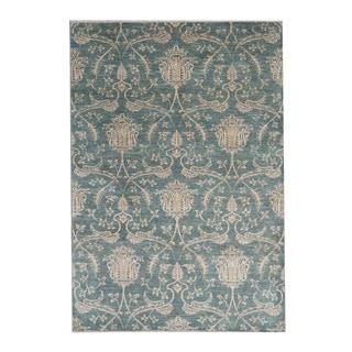 Herat Oriental Afghan Hand-knotted Ikat Green/ Beige Wool Rug (5'7 x 8'1)