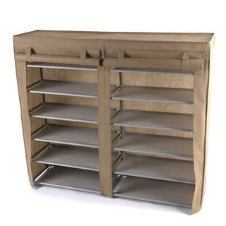 Beige Double 6-tier Shoe Rack