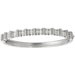 Sterling Silver Micropave Round-cut Cubic Zirconia Fancy Bangle